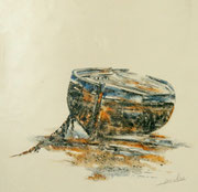 Vieille barque - 20x20 cm