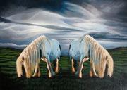 """""""Two Ponies"""" Acrylic 75x50cm"""