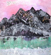 Colorful Maontain above lake, Acryl und Tusche auf Papier