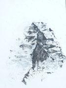 Matterhorn , Acryl gespachtelt auf Papier in 24x31