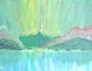 Berge in grün und rot, Acryl und Tusche auf papier in kleinem Format