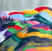 Hügellandschaft, Acryl auf Papier in 20x20 (PT40x40 in Glasrahmen)
