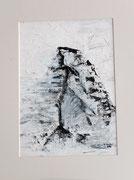 Matterhorn mit Grat, Acryl gespachtelt auf Papier in 24x31
