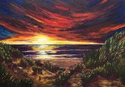 Sonnenuntergang auf Sylt . 110 x 70 cm *