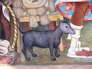 Diego Rievera Gemälde einer Marktszene im antiken Mexiko,mit Cobbytype Xolo zum Verzehr angeboten.