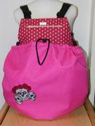 1 Wintertasche außen Nylon pink/ innen Baumwolle Sternchen pink