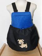 9 Wintertasche außen Nylon sw/ innen Fleece royalblau mit Applikation Hündchen