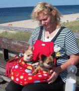 13 Sommertasche außen Fleece Pünktchen / innen Baumwolle rot