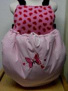15 Sommertasche außen rosa kariert Baumwolle / innen Fleece rosa mit Herzchen