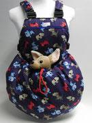 12 Sommertasche außen und innen Baumwolle mit Hündchen
