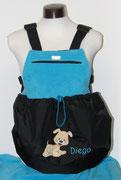 10 Wintertasche außen Nylon sw/ innen Fleece türkis. Bestickt mit Name und Applikation (Aufpreis)