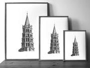 Clocher de la Basilique Saint-Sernin - Toulouse - L'Atelier de Capucine MINOT - 3 formats