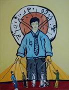 Marionettenspieler,  Acryl a. Leinwand,  260 x 200 cm,  2003