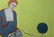 Strickerin,  Acrylfarbe a. Leinwand,  85 x 110 cm,  2008