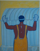 Müllmann,  Acryl a. Leinwand,  260 x 200 cm,  2002