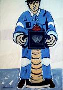 Strassenarbeiter,  Acryl a. Leinwand,  210 x 145 cm,  2002