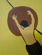 Sisyphus (3- teilig),  Acrylfarbe a. Leinwand,  40 x 30 cm, 2011