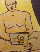Buddha,  Acrylfarbe a. Leinwand,  140 x 110 cm,  2008