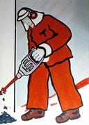 Arbeiter,  Acrylfarbe a. Leinwand,  210 x 150 cm,  2007