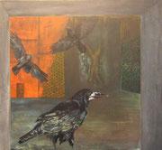 Die Raben / The Raven / Acryl auf Baumwollgewebe / 100 x 80
