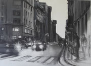 """""""Rue du Renard II"""" - fusain toile (54x73 cm), Sylvie Lavenac Bouliet"""