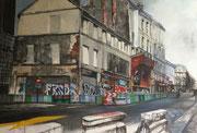 """""""Théâtre de rue"""" - acrylique sur toile- (81x116 cm) de Sylvie Lavenac Bouliet"""