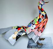 """""""Coq Art"""" (90 long-76 ht- 40 larg cm) sculpture papier- détournement d'objets, peinture, ArtBouliet"""