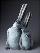 """""""Père et fils""""- Capri, sculpture céramique, (H: 40 x L: 24 x l 14 cm)/ Crédit photographique Thomas Deschamps"""