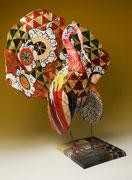 """""""Kimono de basse cour"""" (40 long-80 ht- 60 larg), sculpture papier- détournement d'objets, peinture, ArtBouliet"""