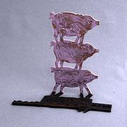 """""""Les trois petits cochons"""", sculpture en bronze, JP Douziech"""