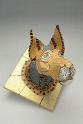 """""""De l'autre côté du miroir""""   (H: 29 - L: 29 - l: 29 cm ) sculpture papier,  peinture, ArtBouliet"""