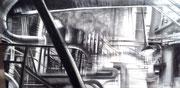 """""""From the darkness""""- fusain- technique mixte sur toile- (60x120 cm), Sylvie Lavenac Bouliet"""