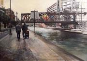 """""""Promenade le long du canal"""", acrylique sur toile (81x116 cm), Sylvie Lavenac Bouliet"""