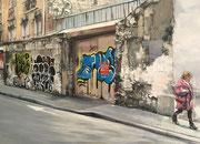 """""""The wall""""- acrylique sur toile- (73x 100 cm) de Sylvie Lavenac Bouliet"""