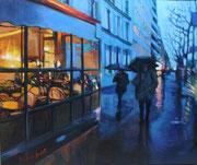 """""""Les parapluies""""- acrylique sur toile (46x55 cm), Sylvie Lavenac Bouliet"""