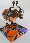 Sculpture objets détournés socle peint- Sylvie et Philippe Bouliet