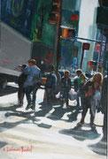 """""""Cross roads""""- acrylique sur toile (24x16 cm), Sylvie Lavenac Bouliet"""