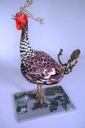 """""""Dès l'aube"""" (H: 72 - L: 50 - l: 30 cm), sculpture papier- détournement d'objets, peinture, ArtBouliet"""