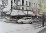 """""""Rendez-vous à la Motte Picquet""""- technique mixte sur toile (50x70 cm), Sylvie Lavenac Bouliet"""