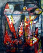 Desenlace a lo Patricia Highsmith (Serie Negra) - Mixta sobre lienzo 100 x 80 cm