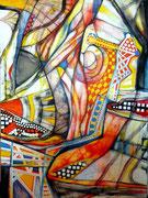 Bipolar Frente a un Espejo (Serie Negra) - Mixta sobre lienzo 130 x 97 cm