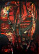 Pulsión (Serie Negra) - Mixta sobre lienzo 100 x 80 cm