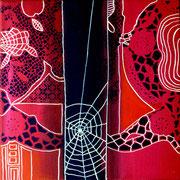 Tejiendo Ilusiones III - Mixta sobre lienzo 25 x 25 cm