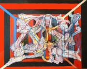Todo es una Farsa- Mixta sobre lienzo  93 x 73 cms