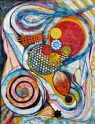 Células Primigenias - Acrílico sobre lienzo  116 x 89 cm  /En Arte Actual Gallery On Line