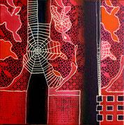 Tejiendo Ilusiones I - Mixta sobre lienzo 25 x 25 cm