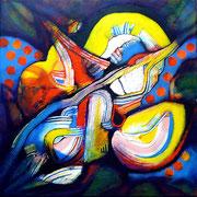 Mundos Mínimos 2 (serie Sumisión o Rebeldía) - Mixta sobre lienzo 40 x 40 cm