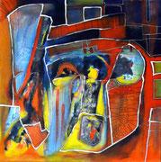 El Rostro de la Inseguridad (serie Inseguridad) - Mixta sobre tablilla entelada 60 x 60 cm