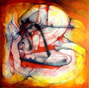 Homosapiens??? - Mixta sobre lienzo 80 x 80 cms  /En Arte Actual Gallery On Line
