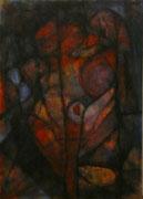 Nido en la Oscuridad (Serie Negra) - Mixta sobre foam con bastidor 70 x 50 cm